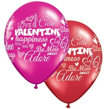 "11"" Valentine's Day Messages Latex Balloon (Without Helium)"