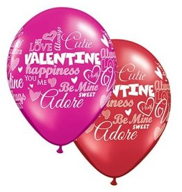 "11"" Valentine's Day Messages Latex Balloon Uninflated"