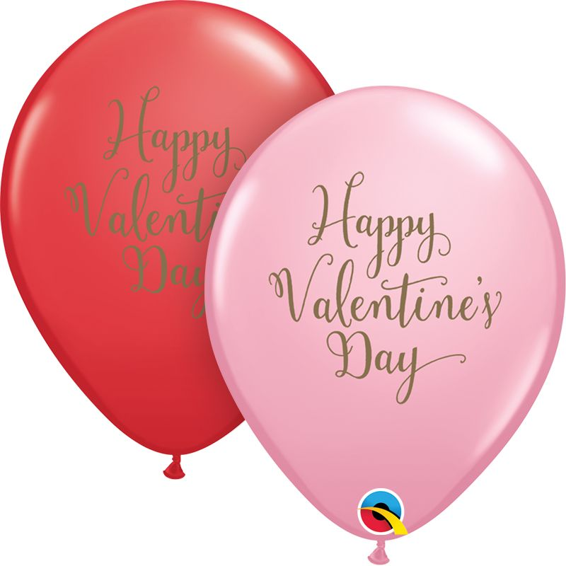 "11"" Valentine's Day Script Latex Balloon Uninflated"