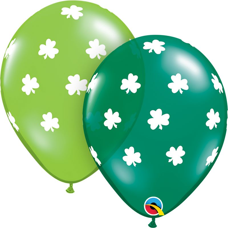 "11"" Big Shamrocks Latex Balloon Uninflated"