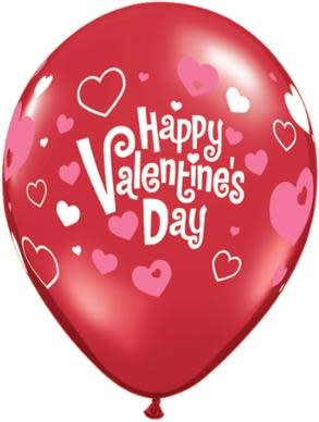 "11"" Valentine's Day Pink Hearts Latex Balloon Uninflated"