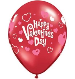 "11"" Valentine's Day Pink Hearts Latex Balloon (Without Helium)"