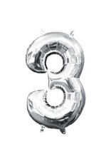 """Air-Filled Number """"3""""- Silver 16"""" Balloon (Will Not Float)"""