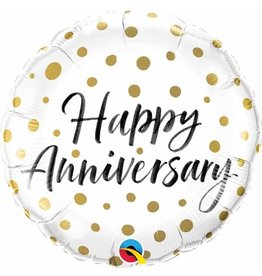 "Happy Anniversary Gold Dots 18"" Mylar Balloon"