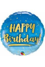 "Birthday Gold & Blue 18"" Mylar Balloon"