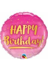 "Birthday Gold & Pink 18"" Mylar Balloon"