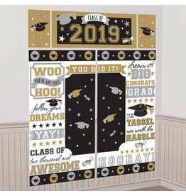 2019 Grad Scene Setter® Wall Decorating Kit - Black, Silver, Gold