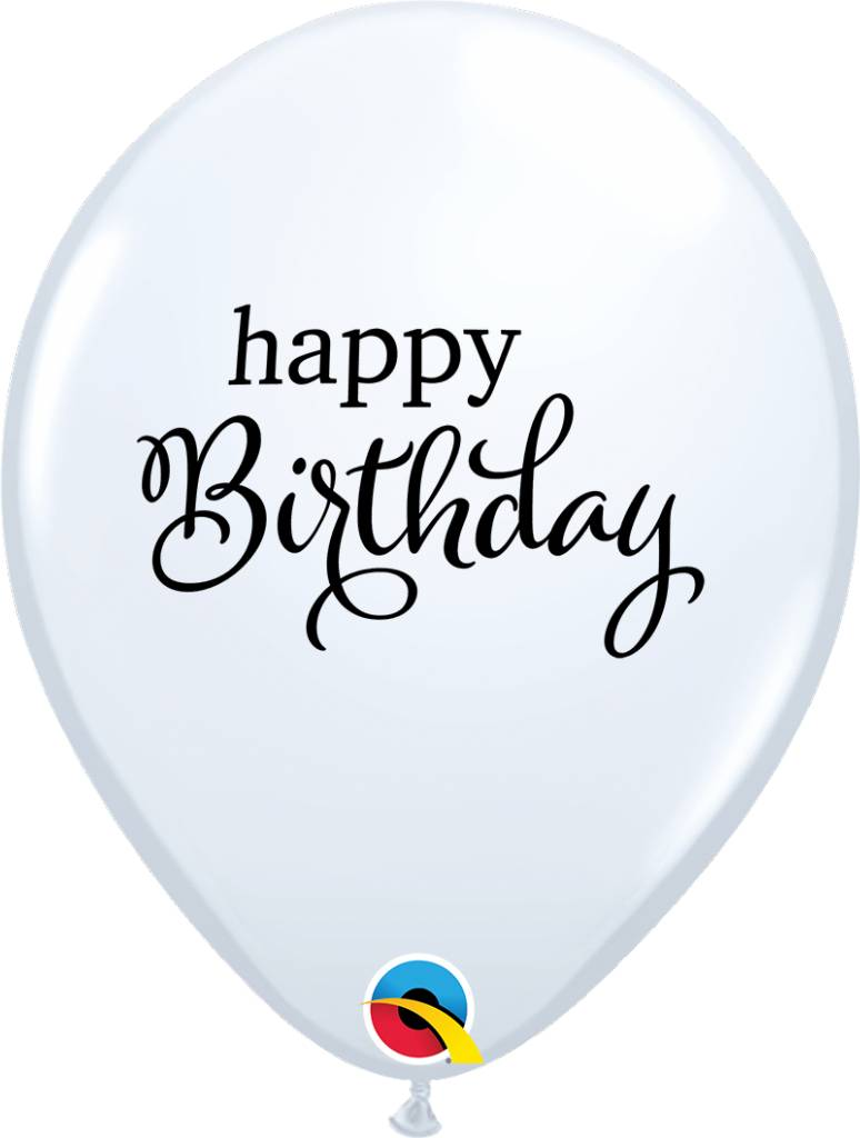 "11"" Simply Happy Birthday White Latex Balloon (Without Helium)"