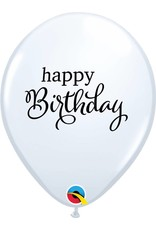 "11"" Simply Happy Birthday White Latex Balloon Uninflated"