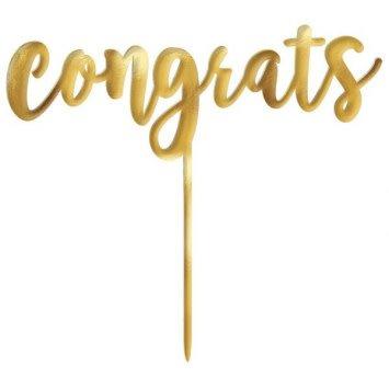 Metallic Gold Congrats Cake Topper