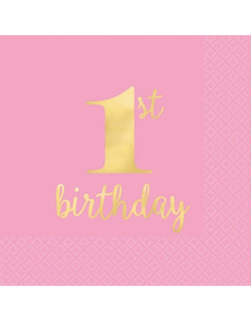 1st Birthday Premium Pink Hot Stamped Beverage Napkins (16)