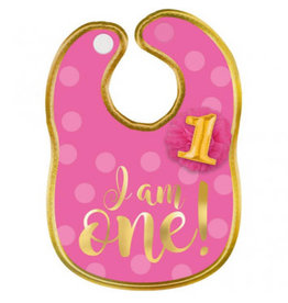 1st Birthday Girl Fabric Bib