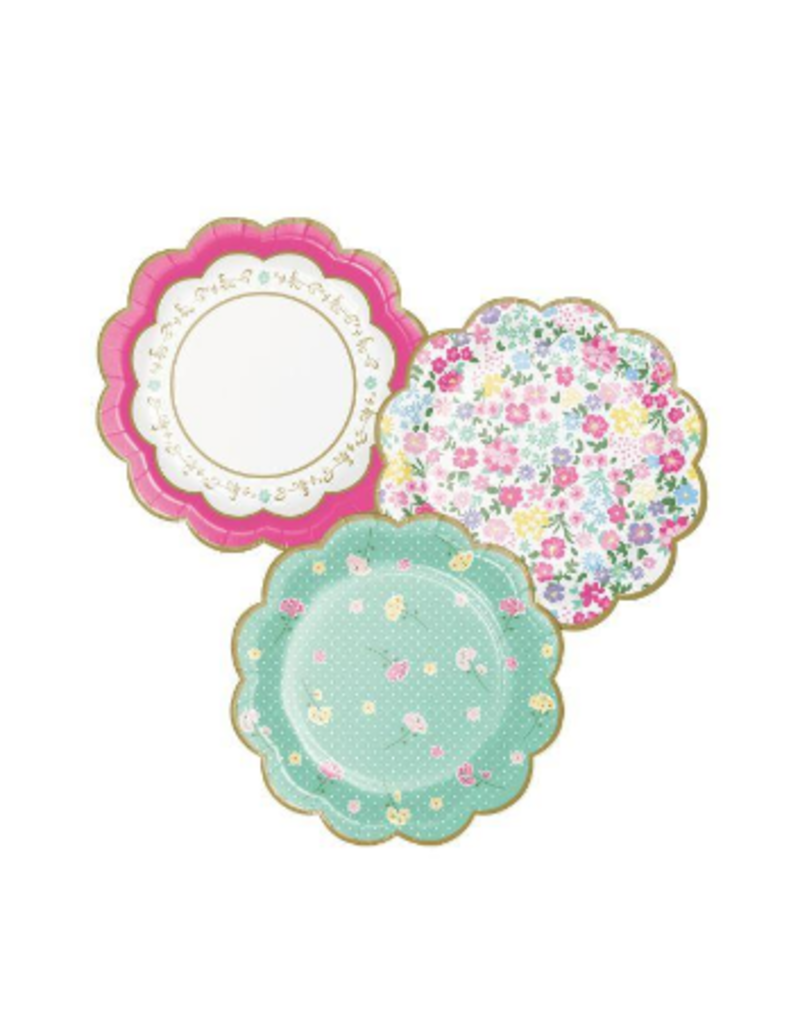 """Floral Tea Party Assorted Scalloped 7"""" Plates (8)"""
