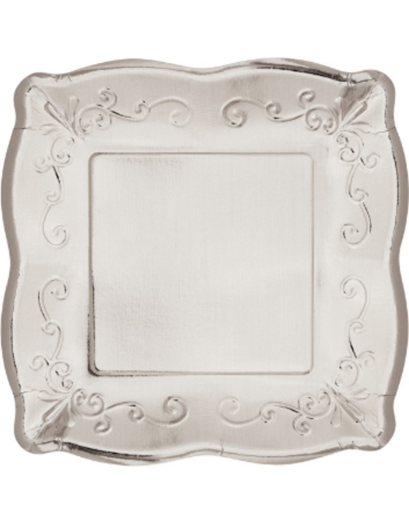 "Silver Embossed Square 7"" Plate (8)"