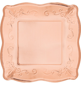 "Rose Gold Embossed Square 10"" Plates (8)"