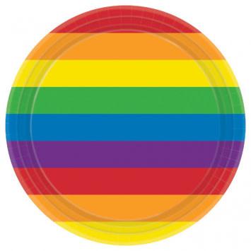 "Rainbow Round Plates, 9"""