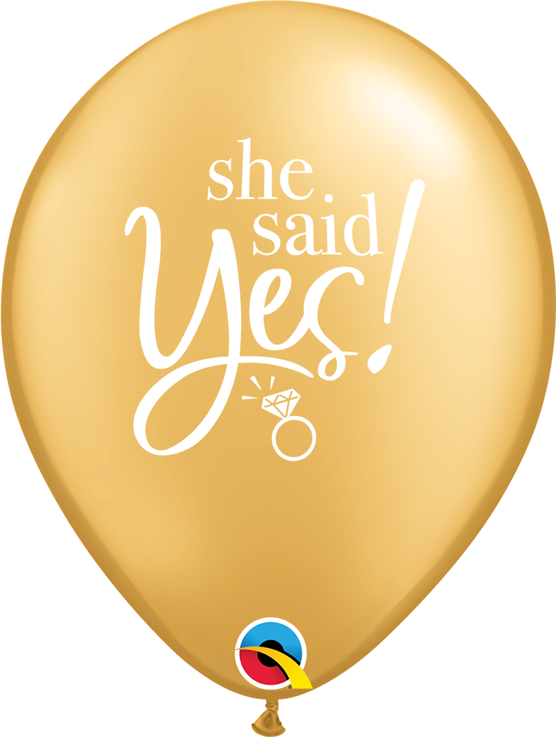 "11"" She Said Yes! Gold Latex Balloon ((Without Helium))"