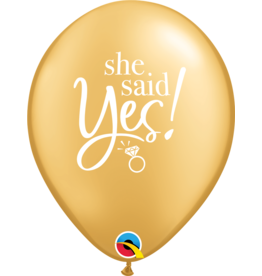 "11"" She Said Yes! Gold Latex Balloon (Uninflated)"
