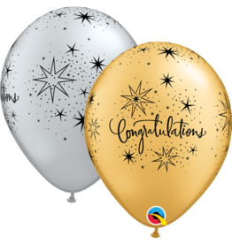 """11"""" Congratulations Elegant Sparkle Balloon Uninflated"""
