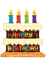 "Pixel Birthday Cake 31"" Mylar Balloon"