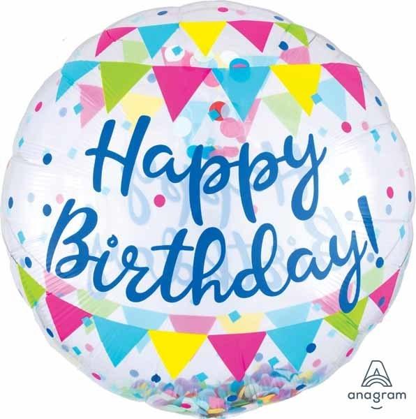 Streamer Fun Happy Birthday Confetti Balloon