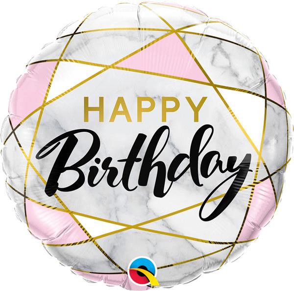 """Birthday Marble Rectangles 18"""" Mylar Balloon"""