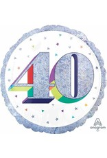 """Here's To Your 40th Birthday 18"""" Mylar Balloon"""