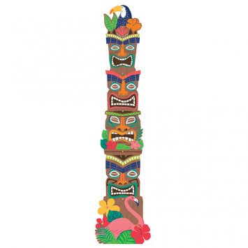 Tropical Jungle Tiki Totem Pole Jointed Cutout