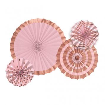 Hot-Stamped Paper Fans - Rose Gold/Blush