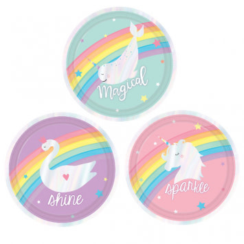 "Magical Rainbow Assorted 7"" Plate (8)"