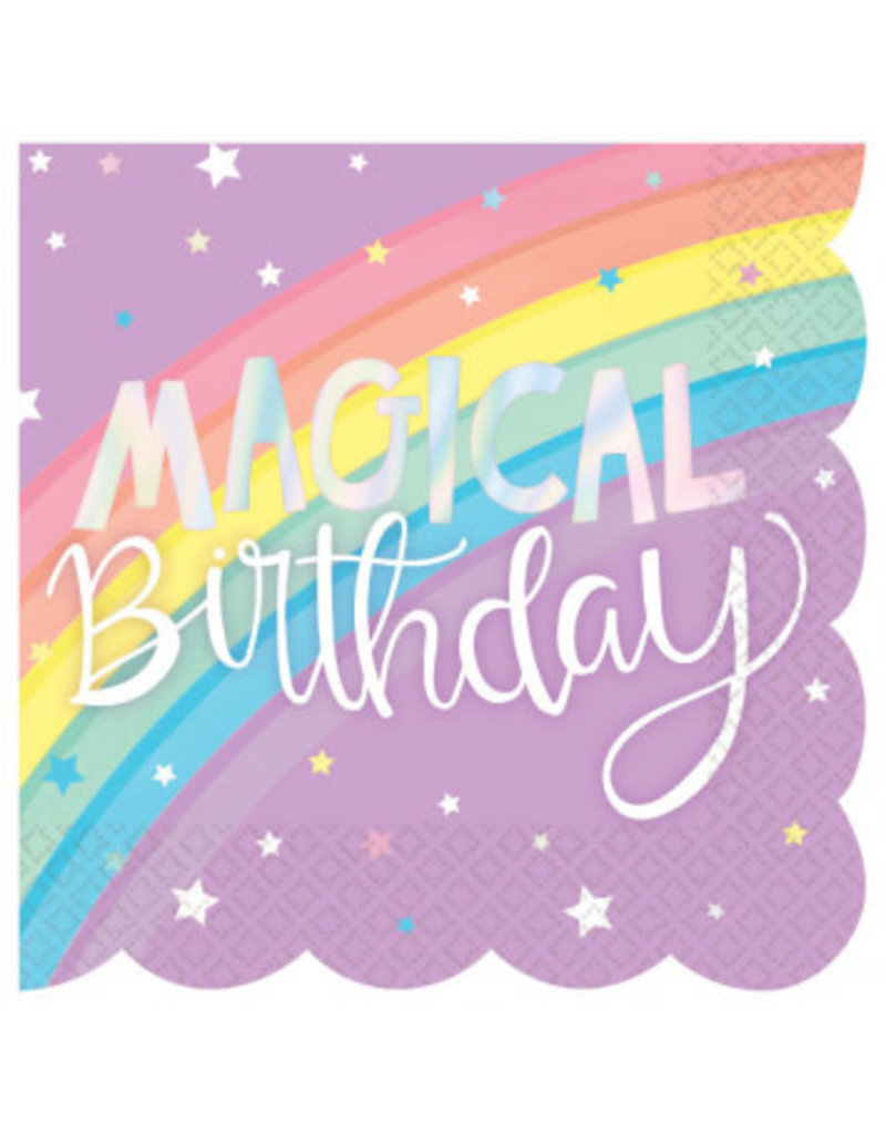 Magical Rainbow Birthday Beverage Scalloped Napkins (16)