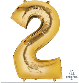 Gold #2 Number Shape Mylar Balloon