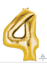 Gold #4 Number Shape Mylar Balloon