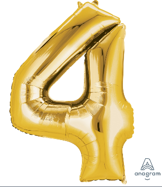 Gold #4 Number Shape Mylar Balloon