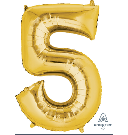 Gold #5 Number Shape Mylar Balloon