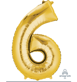 Gold #6 Number Shape Mylar Balloon