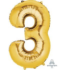 Gold #3 Number Shape Mylar Balloon