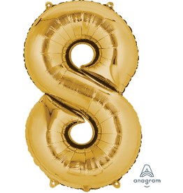 Gold #8 Number Shape Mylar Balloon