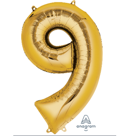 Gold #9 Number Shape Mylar Balloon