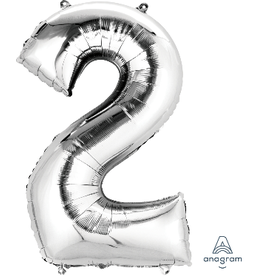 Silver #2 Number Shape Mylar Balloon