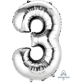 Silver #3 Number Shape Mylar Balloon