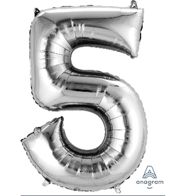 Silver #5 Number Shape Mylar Balloon