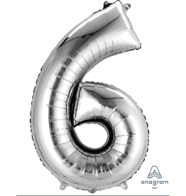 Silver #6 Number Shape Mylar Balloon