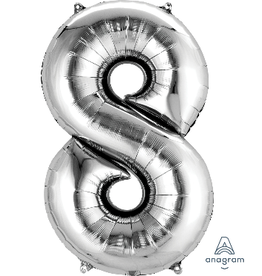 Silver #8 Number Shape Mylar Balloon