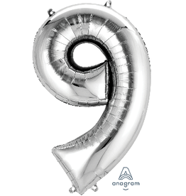Silver #9 Number Shape Mylar Balloon