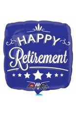 "Happy Retirement Blue Square 18"" Mylar Balloon"