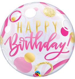 Pink & Gold Dots Happy Birthday Bubble Balloon