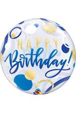 Blue & Gold Dots Happy Birthday Bubble Balloon