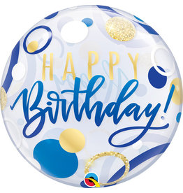 Blue & Gold Dots Happy Birthday Bubble Balloon