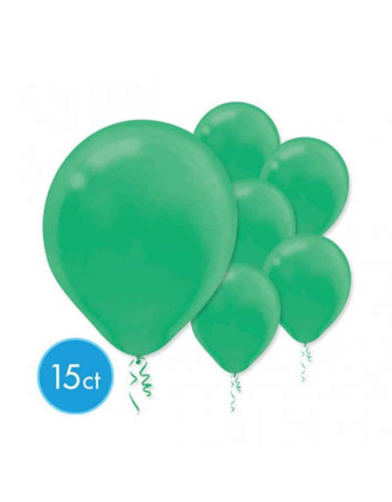 Festive Green Solid Color Latex Balloons (15)
